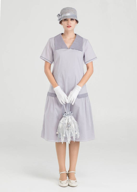 1920s Day Dresses, Tea Dresses, Mature Dresses with Sleeves Simply pretty Great Gatsby cotton dress in pale lilac grey with short sleeves $140.00 AT vintagedancer.com