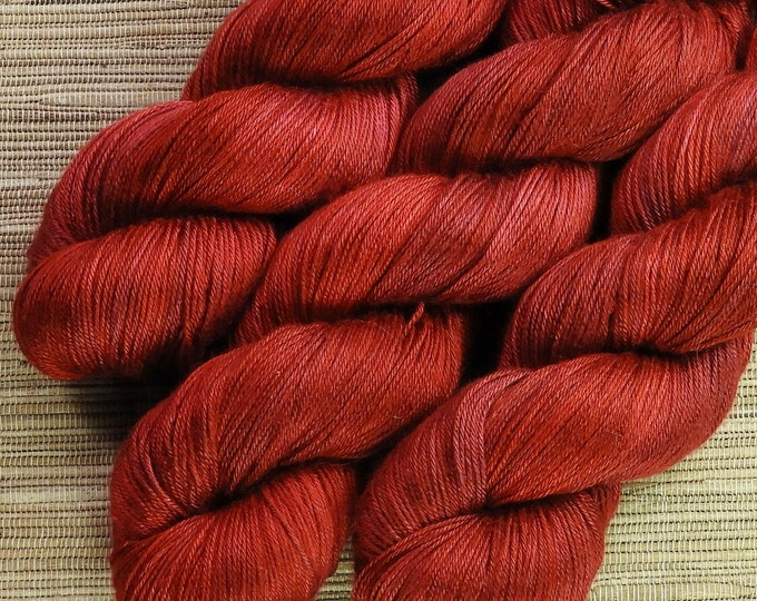 Hand dyed yarn - 100g 100% Silk 4 ply/ fingering weight in 'Valentino' - With free cowl pattern