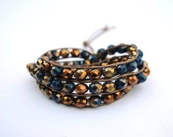 Bracelet, bracelet pour les femmes, Boho bracelet, Bohème, perles bracelet Wrap bracelet cristaux tchèques, accessoire de mode, cadeau d'anniversaire