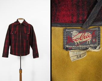 Vintage 50s Woolrich Mackinaw Coat Shadow Plaid Red and Black Hunting Wool - Size 44