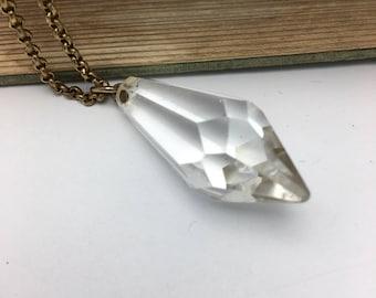 Glass Crystal Necklace Vintage Necklace Chandelier Pendant