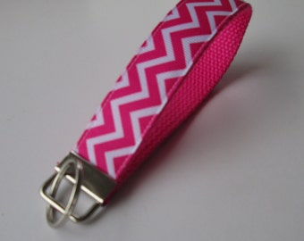 Pink and White Chevron Lanyard Keychain for Women, Cool Lanyards for Women, Chevron Keychain Lanyard, Cute Wristlet Lanyard, Pink Chevron