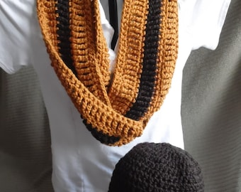 Organic Cotton Clothing Striped Beanie & Infinity Scarf, Organic Cotton, Espresso and Spice