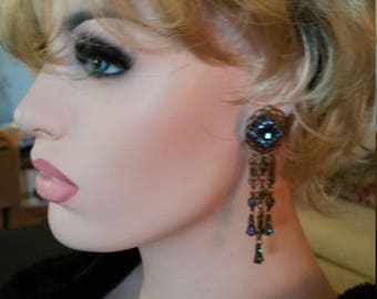 Gorgeous Chandelier Vintage multi strand pierced earrings with gorgeous blue crystals