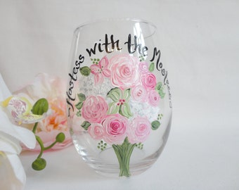 Bridal Wine Glasses, HOSTESS with THE MOSTESS - Personalized Flower Bouquet Glasses, Bridesmaid Wine Glasses, Hostess Gift, Wedding Gifts