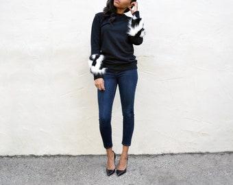 Fur Sleeve Sweatshirt