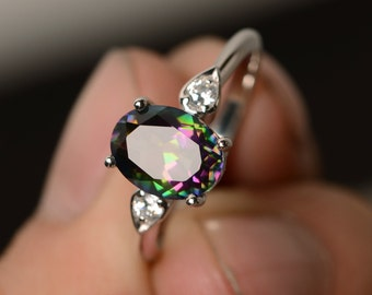 Mystic Topaz Ring Oval Cut Mystic Topaz Sterling Silver Engagement Ring Rainbow Topaz Ring