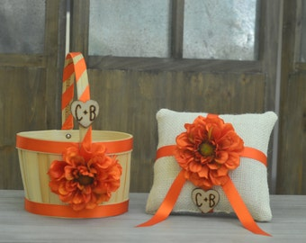 Rustic Flower Girl Basket and Ring Bearer Pillow. Other color selections available