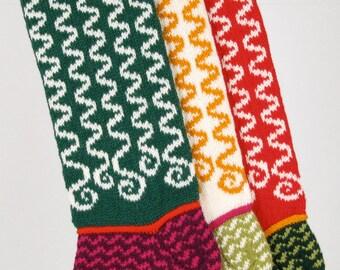 Hand-knit Christmas Stocking, Ribbons