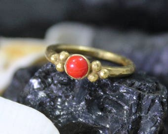Red Coral Stack Ring Handmade 925K Sterling Silver Ring 18K Gold Plated Over Silver