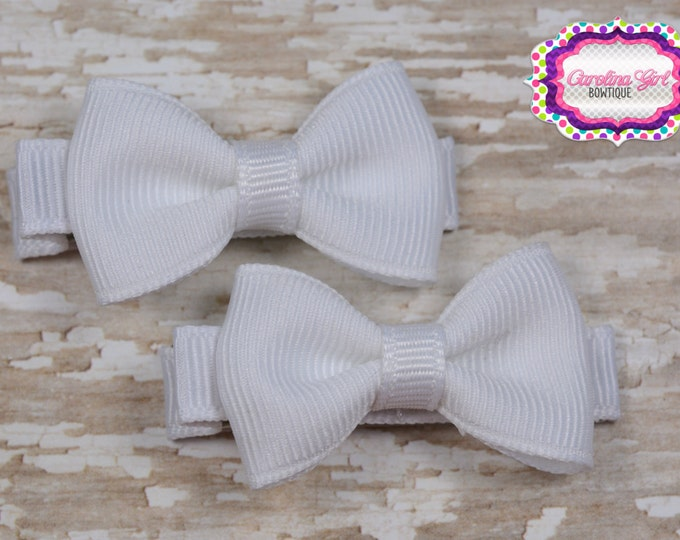 Baby Hair Bow ~ White Hair Bow Set of 2 Small Hairbows - Girls Hair Bows - Clippies - Baby Hair Bows