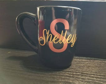 Black Personalized Name 8 oz Coffee Cup