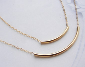 Gold bar necklace, bridesmaid jewelry, Simple gold tube everyday gold bar necklace,  delicate dainty necklace, gold tube bar