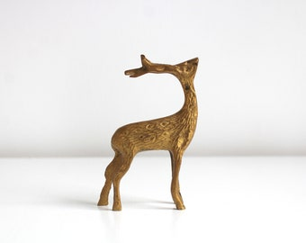 Brass Deer, Deer Figurine, Brass Deer Figurine, Brass Figurine, Gold Deer Figurine, Deer Statue, Reindeer Brass Reindeer Brass Decor Vintage