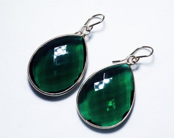 Green Hydro Quartz Dangle Earrings Deep Green Earrings 14K Gold Bezel Earrings BZ-E-118-GHQ