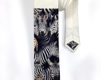 Zebra Print White Raw Silk Tie, Fathers Day Tie, Mens Neck Wear, Mens Tie, Novelty Tie, Suit & Tie Accessory, Mens Accessory, Graduation Tie