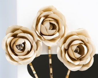719_Gold rose, Bridal bobby pin, Gold flowers, Flower hair clip, Gold flower hair clips, Silk gold rose, Bridal flower bobby pin Rhinestones