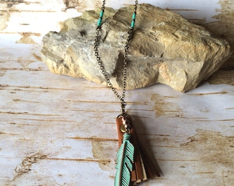 Long Brass Necklace - Brown Leather Tassel - Feather Pendant - Layer - Boho - Hippie - Gypsy - Patina - Green