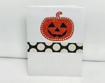 Halloween Card, Handmade Halloween  Card, Halloween, October 31, Boo Card, Jack O Lantern Card, Fall Card, Sparkly Halloween pumpkin card