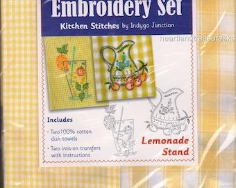 Lemonade Stand Dish Towel Embroidery Set 2 Towels + 2 Transfer Pattern Kit