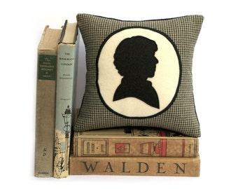 Modern Sherlock Holmes Houndstooth Shadow Silhouette Bookshelf Pillow