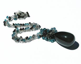 Sensational Black Tourmaline Pendant / Gemstone / Black Spinel / Teal Blue Topaz / Sterling Silver / Wire Wrapped / Little Black Dress