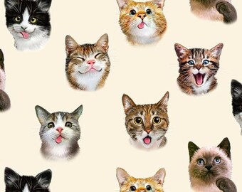 Elizabeth's Studio, Pet Selfies, Cats, Kittens, in Cream, Novelty, By the Yard, 100% Cotton -  HALF YARD