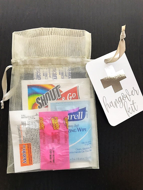Hangover Kit Tag Gold Foil Survival Kit Welcome Bags
