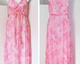 mod fluffy chiffon velvet SAKS FIFTH AVENUE hot pink gown nightgown S M peignoir maxi