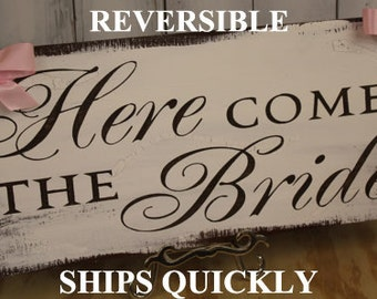 Here Comes the BRIDE Sign/Photo Prop/Reversible Options/Great Shower Gift/Black/White/Light Weight/Rustic/Wood sign/Wedding/Fast Shipping
