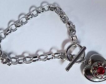 Mini Red/Diamond Heart Charm bracelet