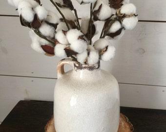 Cotton Arrangement, cotton, farmhouse decor, rustic decor, table arrangement, small arrangement, home decor, gift, cotton stems, pottery