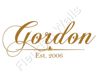 Personalized Vinyl Monogram Family Last Name Wall Decal with Established Date for Living Room Entryway or Family Room DecorFN001