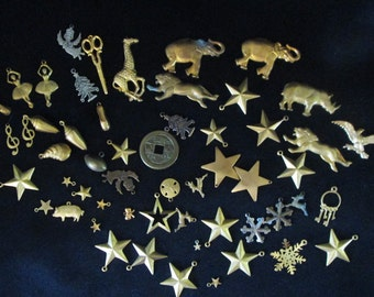 Vintage Collection of Goldtone and Silver Small Charms Over 50 pcs.