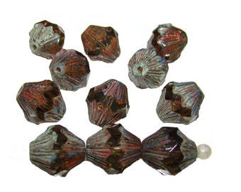 4 pcs Czech Fire-Polished Faceted Glass  Lanterns Baroque Bicone Beads 13x11 mm, Smoke Topaz Travertine Dark (13FPL005)