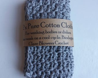 Set of 2 Cotton Crochet Cloths for Bodies or Dishes!