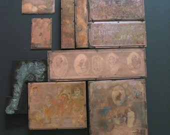 Antique copper printing lithograph blocks. 1910s. Total of 10 plates. Urbana High School Ohio yearbook photos. Football, car, students.