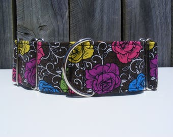 Roses - Martingale Dog Collar - Greyhound, Sight hound