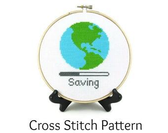 Saving Planet Earth Cross Stitch Pattern
