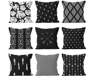 Boho Throw Pillow Cover Set Mix and Match Black and White, Boho Tropical Home Decor, Palm Leaves Cactus Bohemian Feathers and Arrows