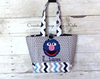 Sesame Street Grover Bag/ Grover Lunch Bag/ Sesame Street Purse/ Personalized Sesame street bag/ Kids tote bag/ toddler tote bag