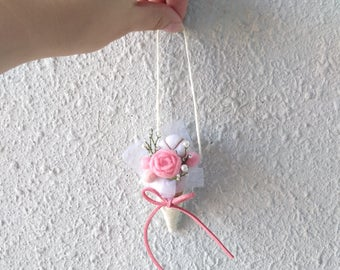 Flower whispering: Needle felted Ice cream cone flower bouquet | needle felted rose | rose | cotton flower | ornament | trinkets | bouquet