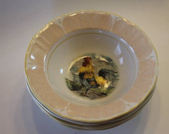 Gibson Everyday Rooster Soup/ Cereal Bowls : Set of 4