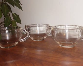 Set of THREE Vintage 1980's Punch Cup with Beaded Handle
