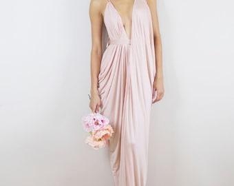 Blush Bridesmaids Dress, Blush Prom Dress, Blush Draped Gown, Blush Maxi Dress, Rose Bridesmaid Dress, Pink Bridesmaid, Blush Grecian Dress