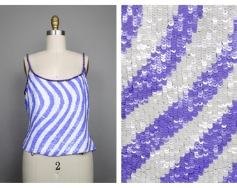 Bright Sequined Top // Periwinkle and White Sequin Embellished Beaded Spaghetti Strap Top
