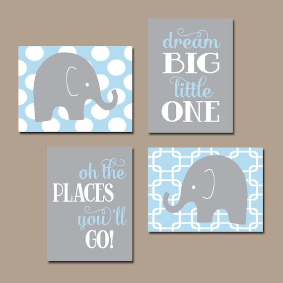 Perfect Boy ELEPHANT Wall Art Baby Boy Nursery Decor Light Blue Gray XX97