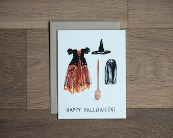 Halloween card - happy halloween - funny card - witch costume - kid costume