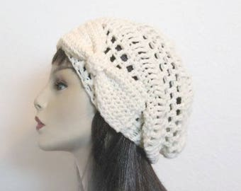 Cream Slouch Hat with Bow Cream Beanie with Bow Ivory Slouch Hat Off White Beanie Cream Slouchy Beret  with Bow Crochet Women's hat