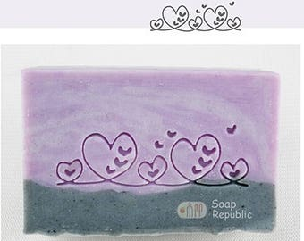 SoapRepublic 'Fancy Border with Hearts' Acrylic Soap Stamp / Cookie Stamp / Clay Stamp